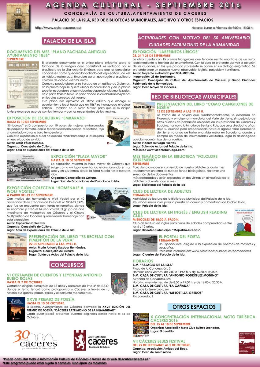 Programación de actividades del mes de septiembre
