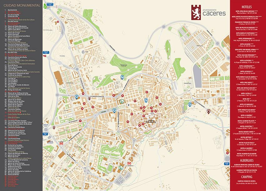 Mapa Ciudad Monumental de Cáceres