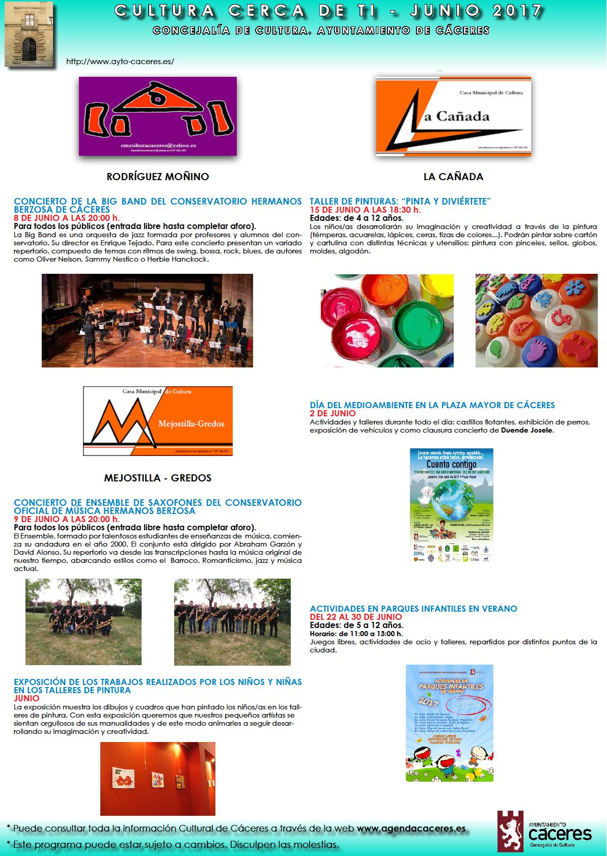 Talleres infantiles, actuación de teatro y exposiciones