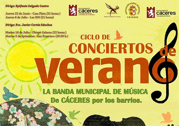 Concierto de verano de la Banda Municipal de Música de Cáceres