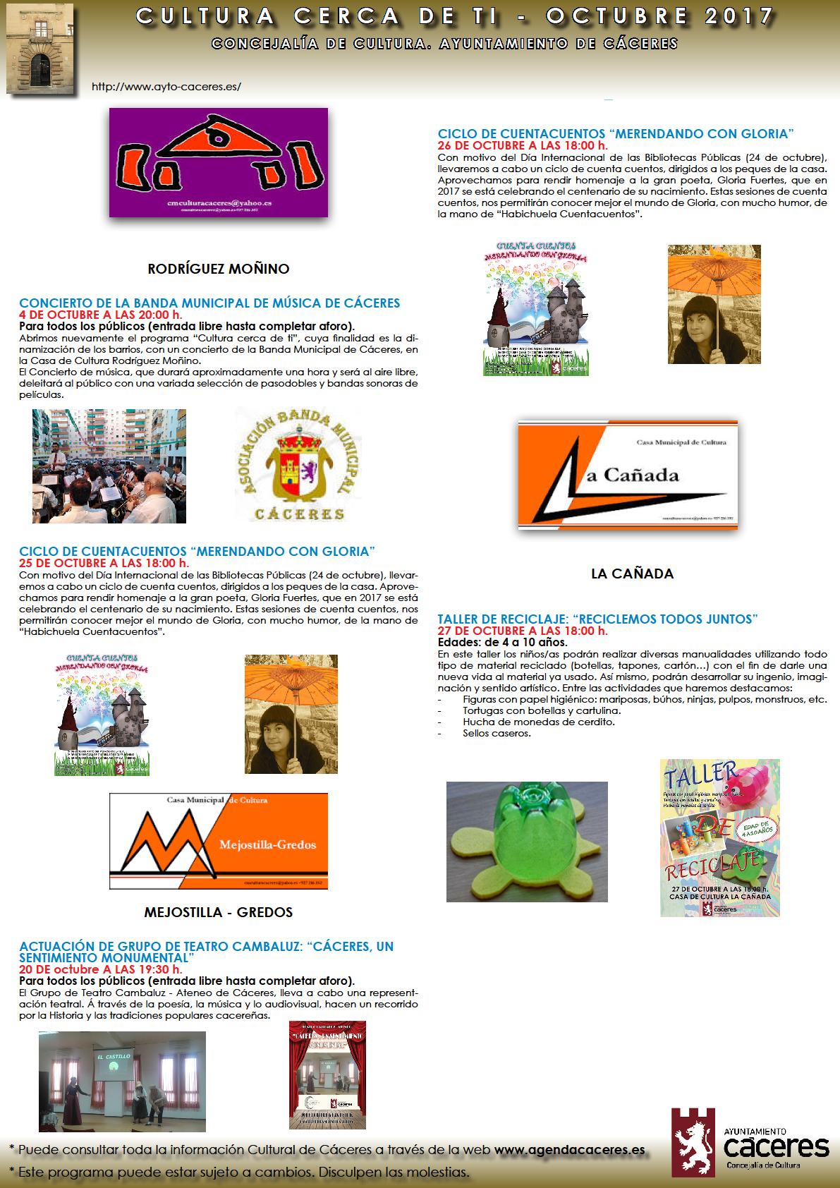 AGENDA CULTURAL – OCTUBRE 2017