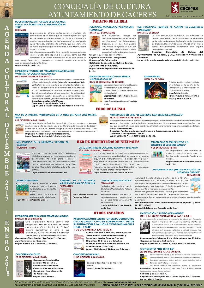 Agenda Cultural - diciembre 2017 y enero 2018