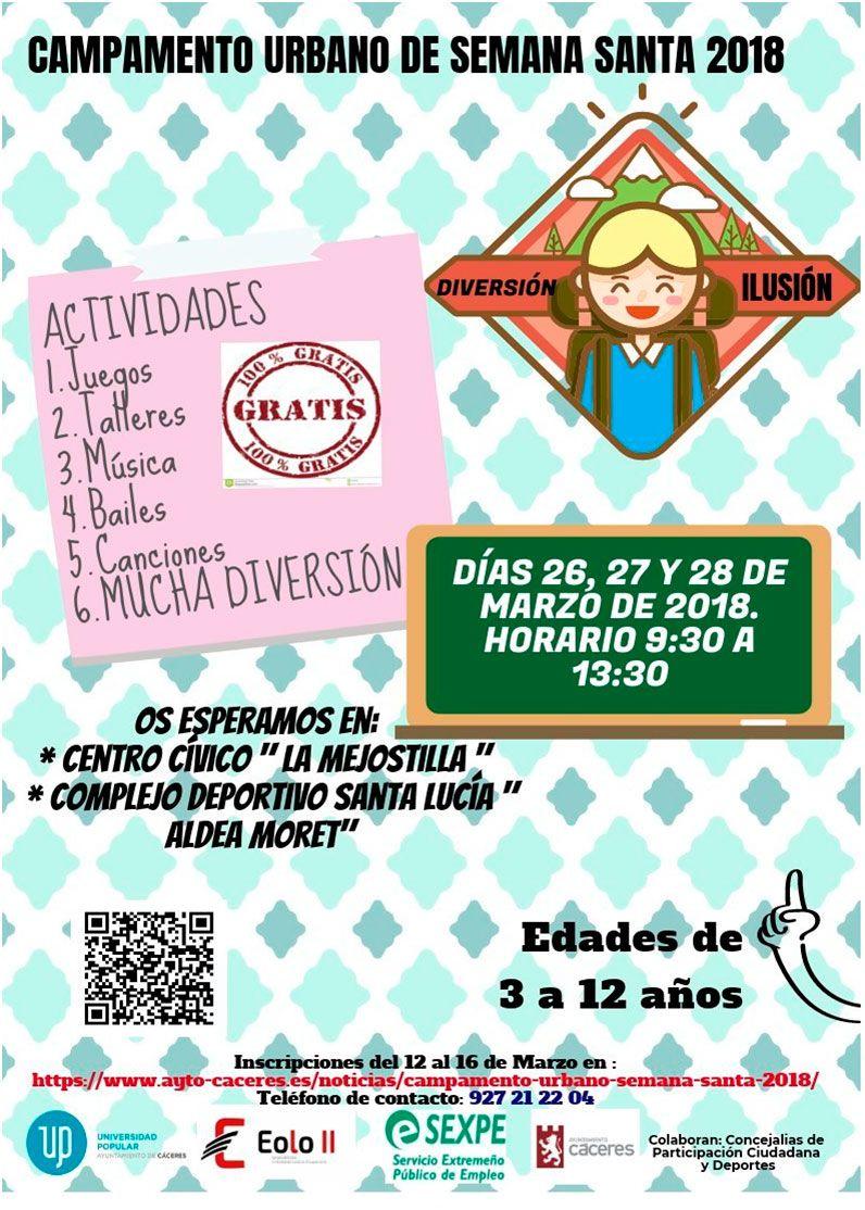 Campamento Urbano de Semana Santa 2018 - Ayuntamiento de Cáceres