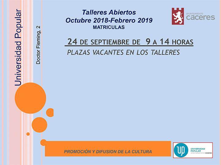nuevo el plazo de matriculas para el programa de talleres abiertos de la Universidad Popular de Cáceres