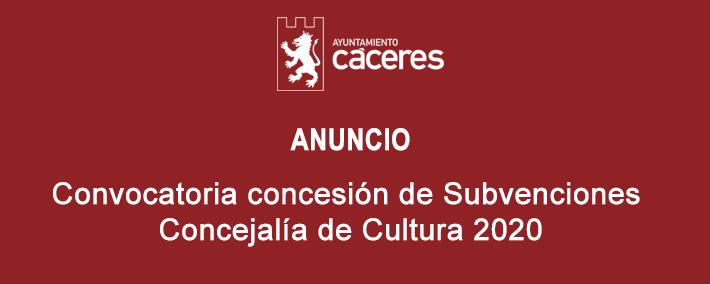 Subvenciones Concejalia de Cultura 2020