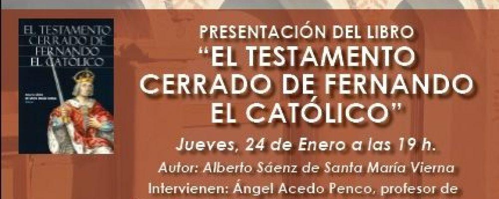 El Palacio de la Isla acoge la presentación del libro 'El testamento cerrado de Fernando el Católico'