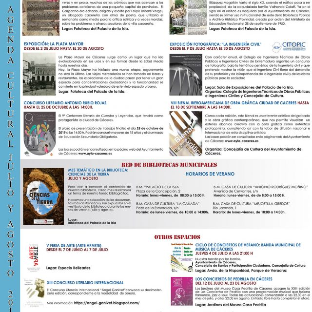 Agenda Cultural – Julio 2019