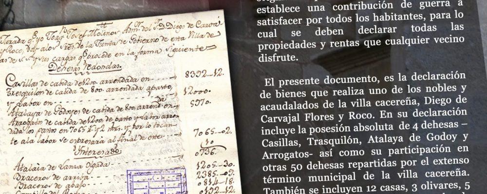 El Documento del Mes de Junio da el conocer la declaración de propiedades de Diego de Carvajal
