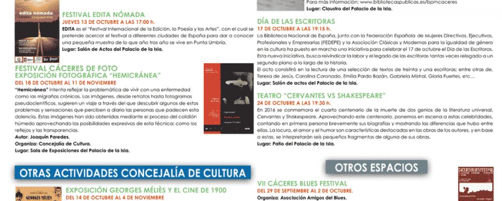 Programación de actividades del mes de Octubre (Museo, Palacio de la Isla, Red de Bibliotecas)