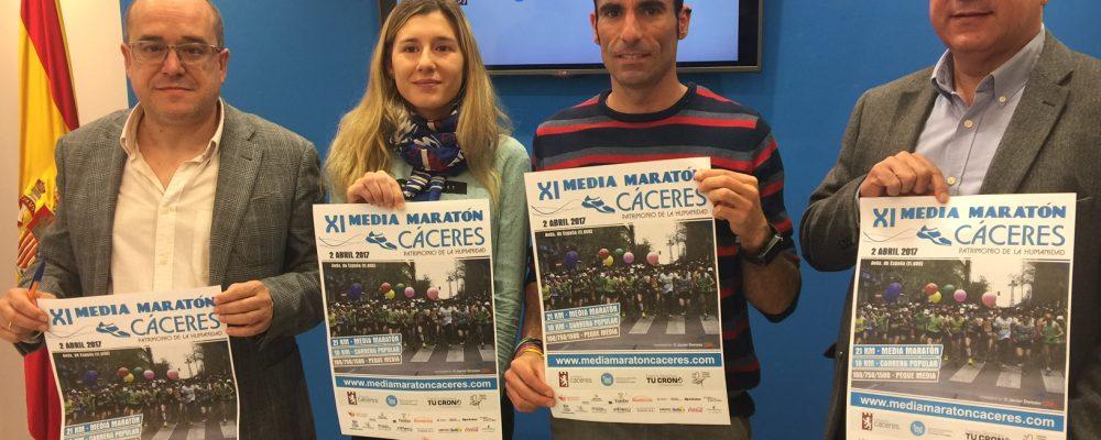"""Más de 1.000 corredores se darán cita en la XI Media Maratón de Cáceres """"Patrimonio de la Humanidad"""""""